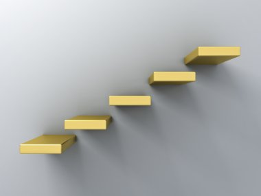 Abstract gold stairs or steps concept on white wall background with shadow