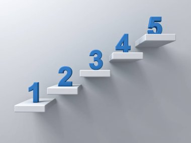 Abstract stairs or steps concept on white wall background with blue number from one to five