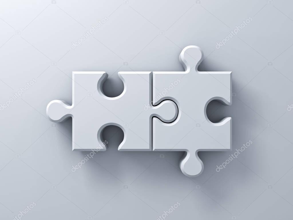 Dos Piezas De Rompecabezas En Blanco La Pared Fondo Con
