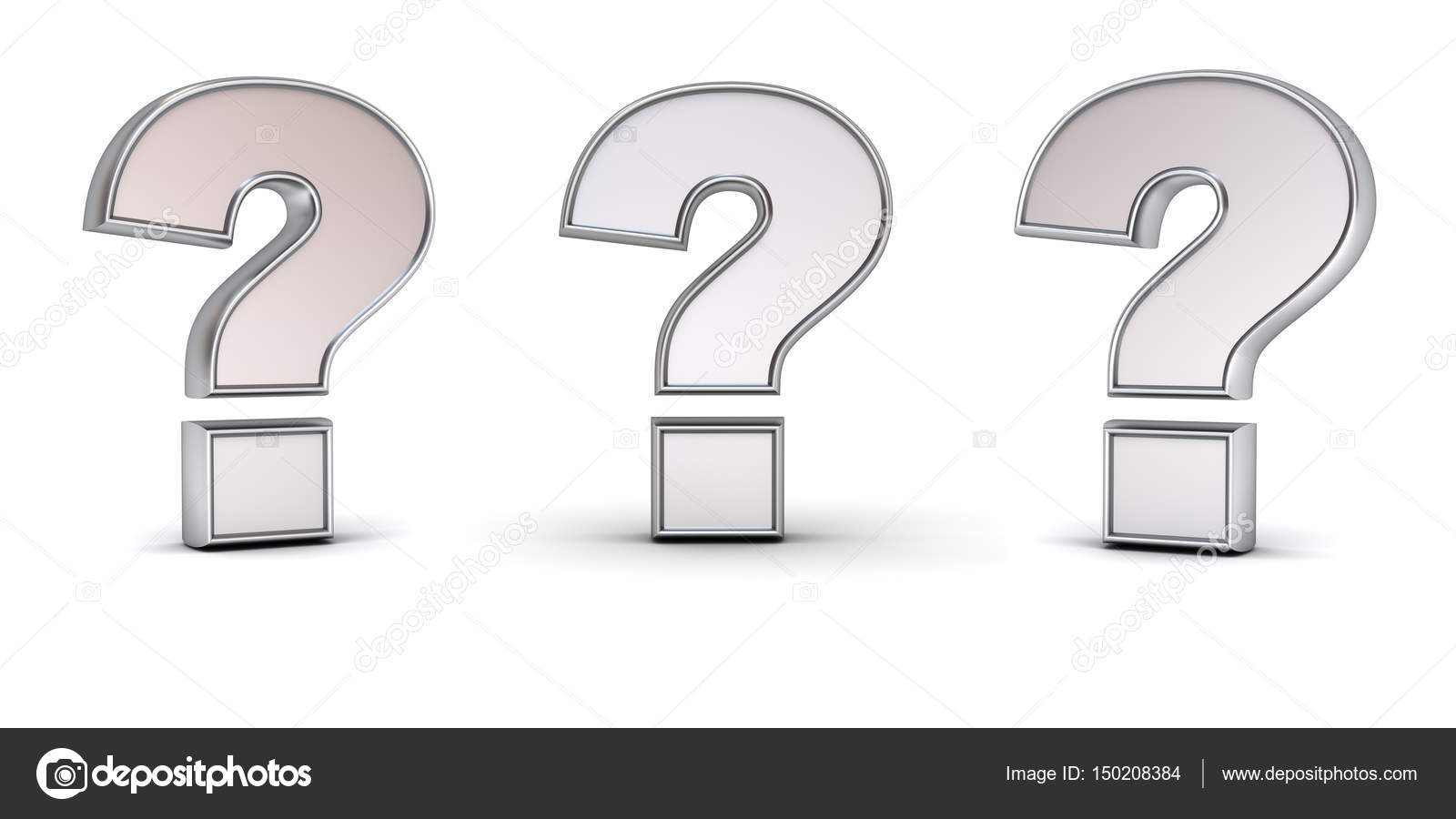 3d metallic chrome question mark with three different view