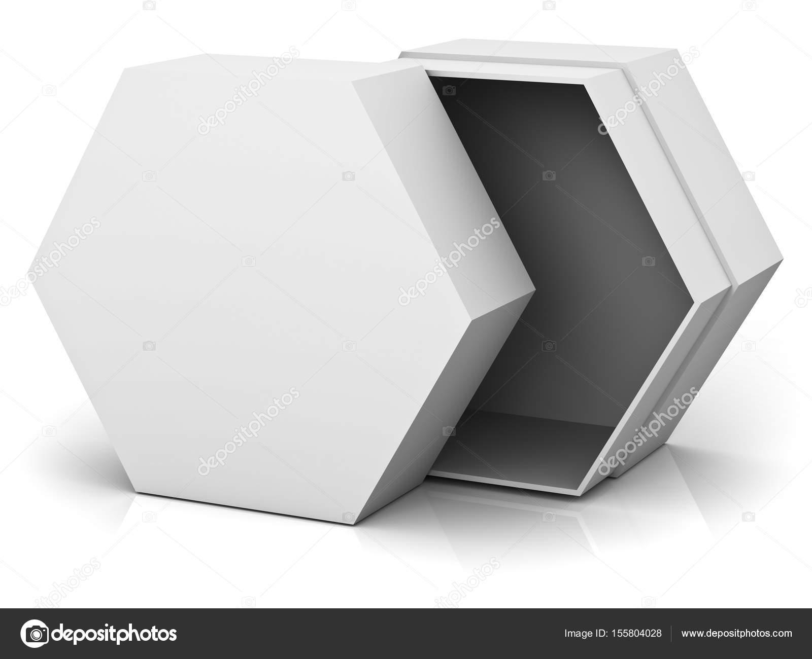 Abrir Caja hexagonal con cubierta de la tapa en blanco aislado en ...