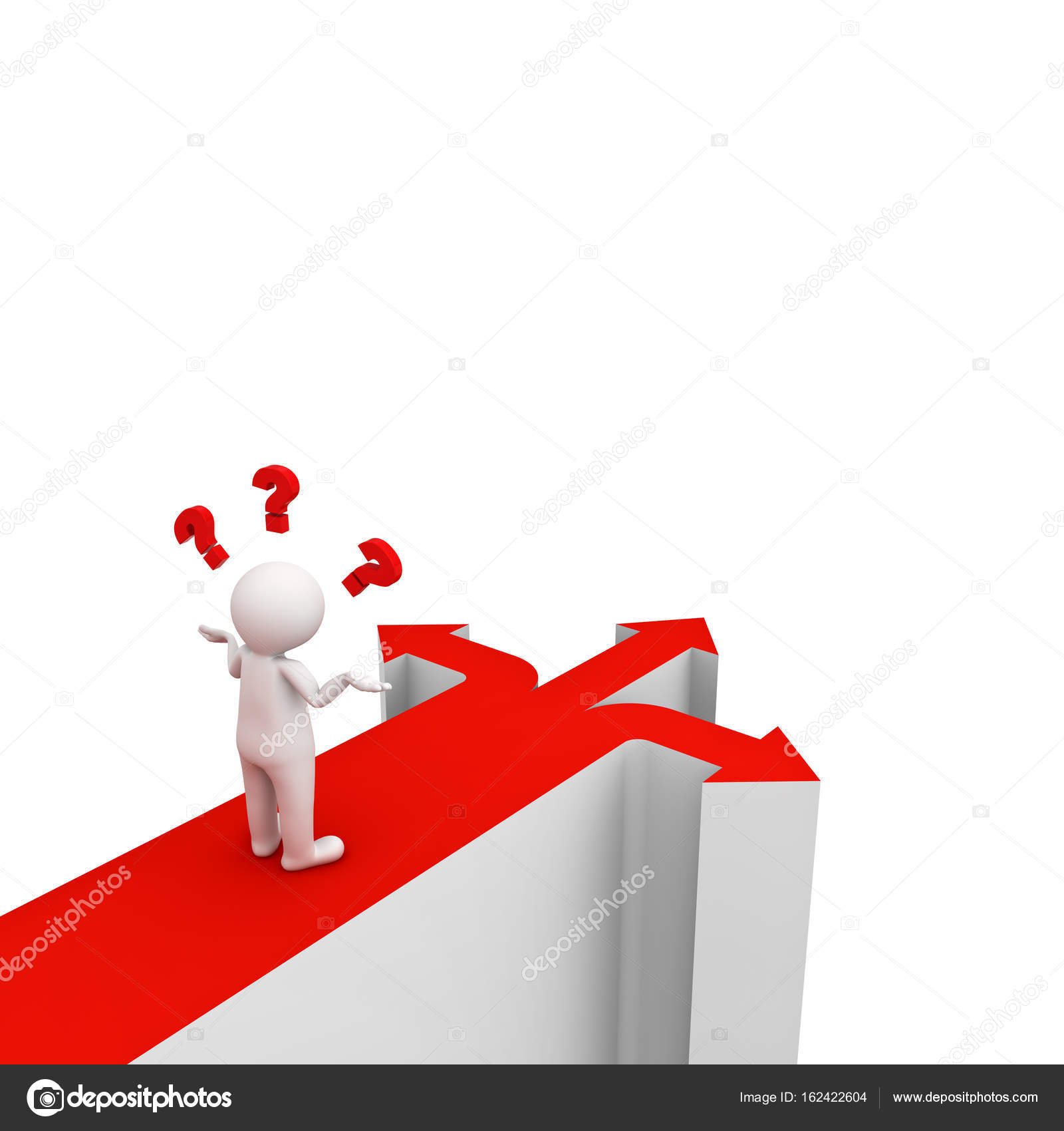 3d man thinking and confusing with three red arrows showing three