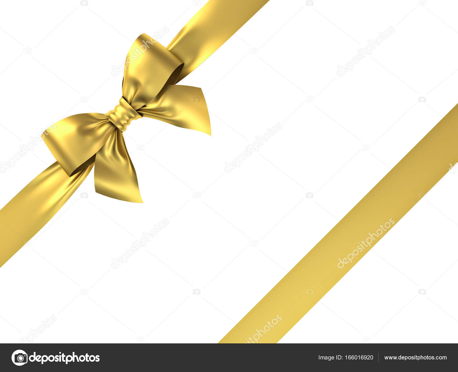 gold gift ribbon bow isolated on white background 3d render