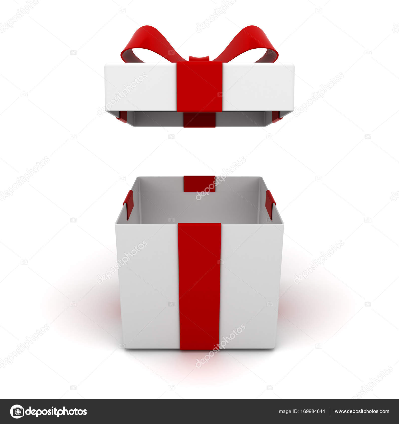 Open gift box and present box with red ribbon bow isolated on open gift box and present box with red ribbon bow isolated on white background with shadow negle Gallery