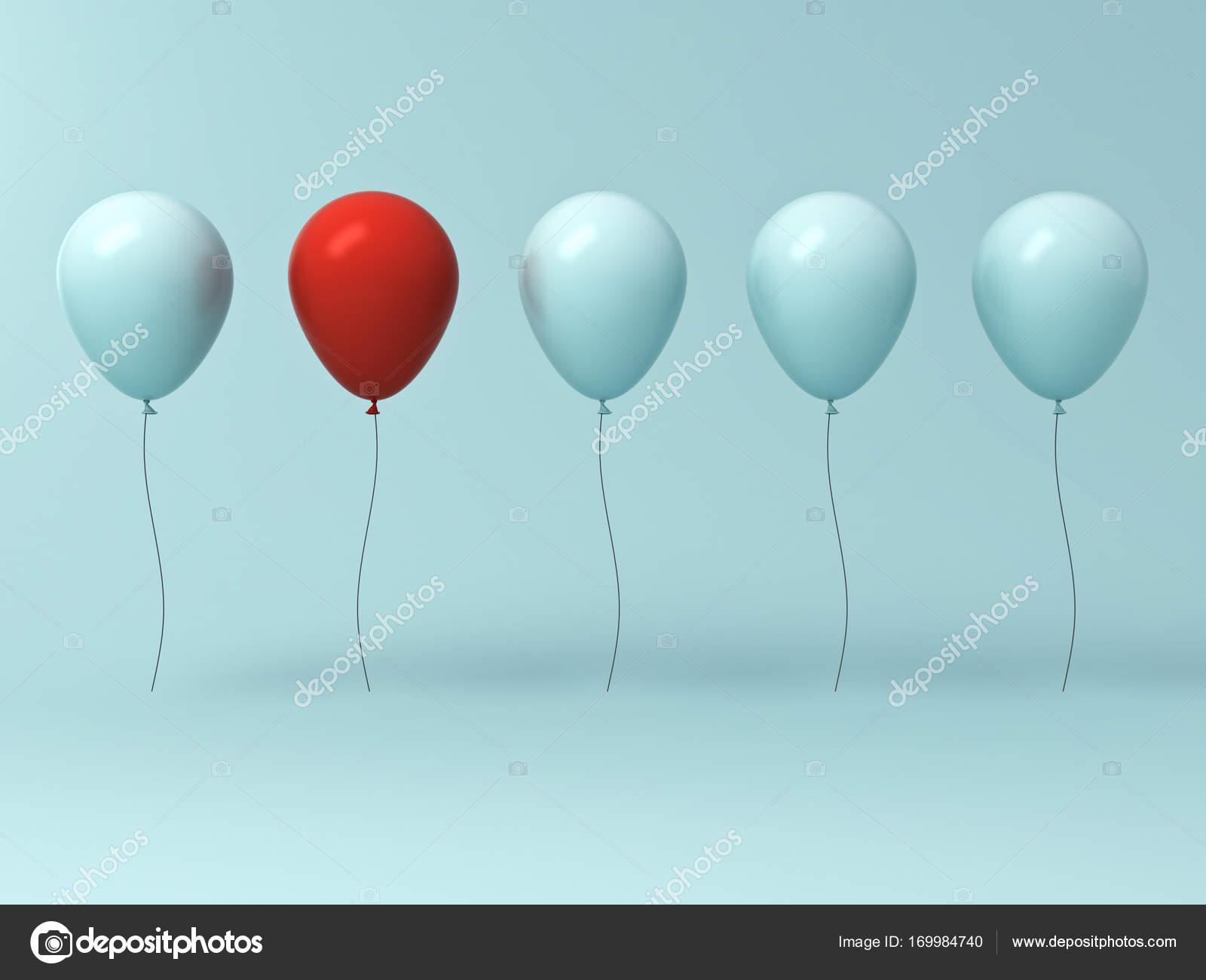 Ballonnen Met Licht : Onderscheiden van de menigte en ander concept een rode ballon