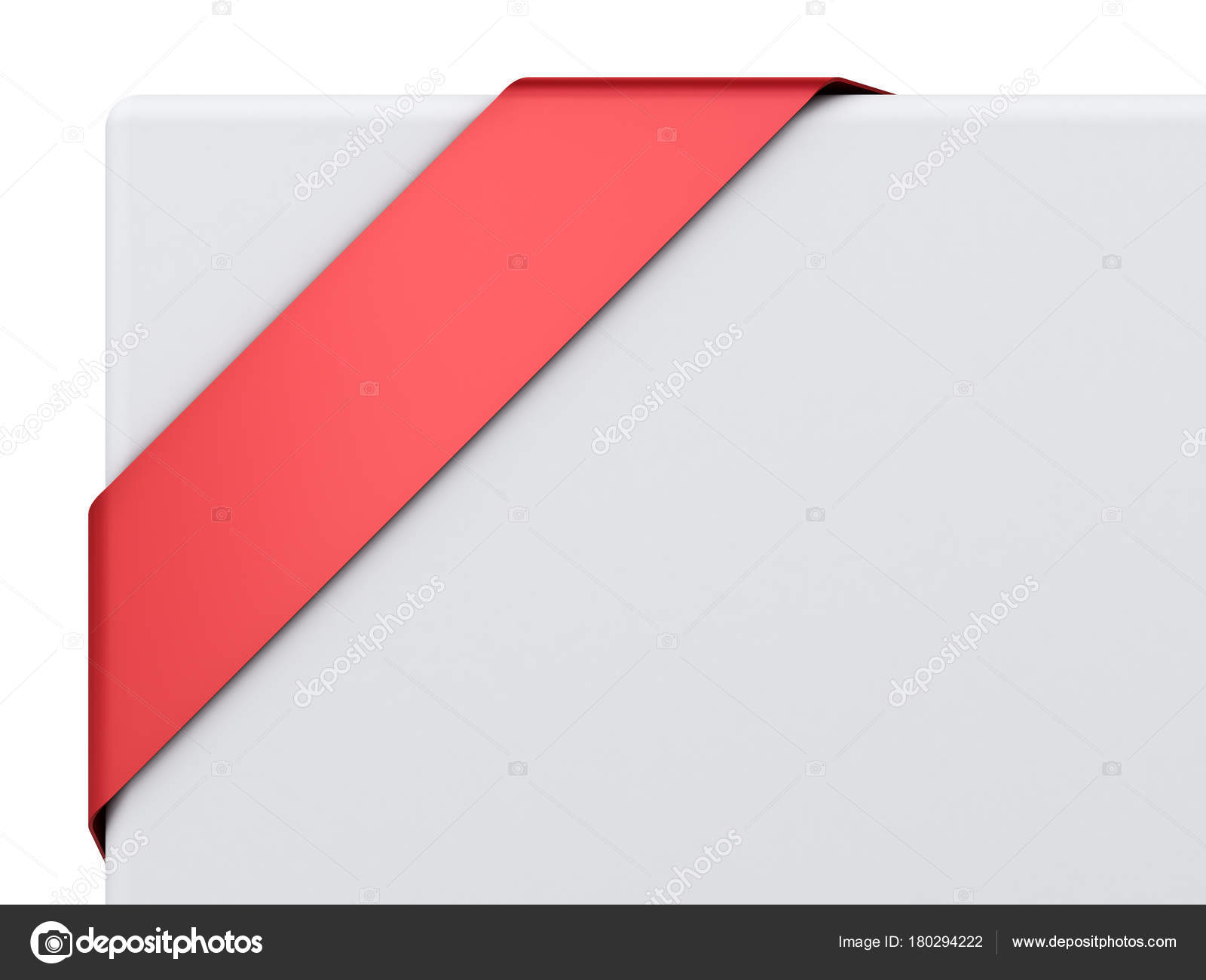 blank red corner ribbon banner isolated white background rendering