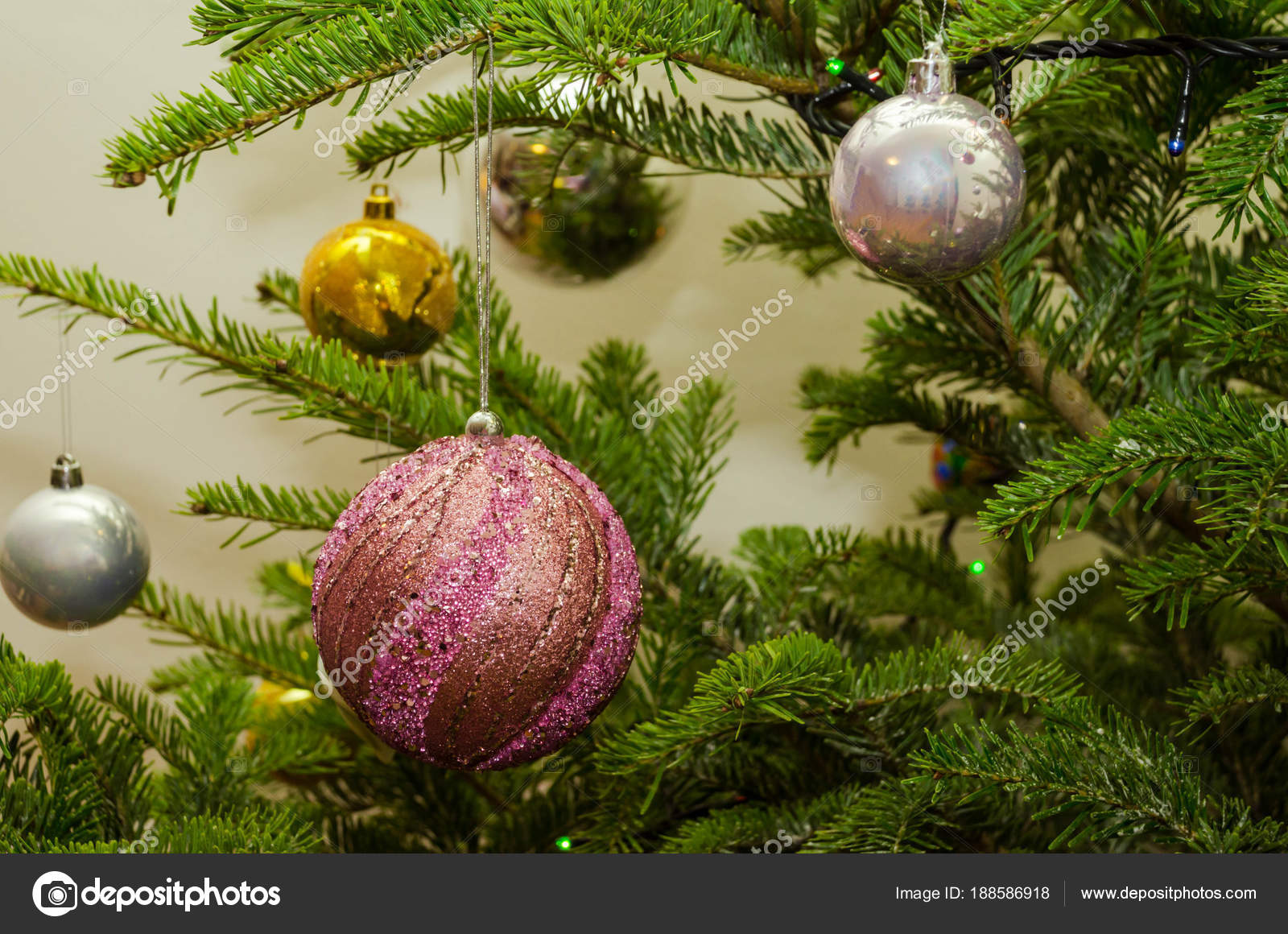 Purple And Gold Christmas Tree Decorations Close Up Of Purple Gold And Gray Christmas Tree Decorations Stock Photo C Milicaphoto 188586918