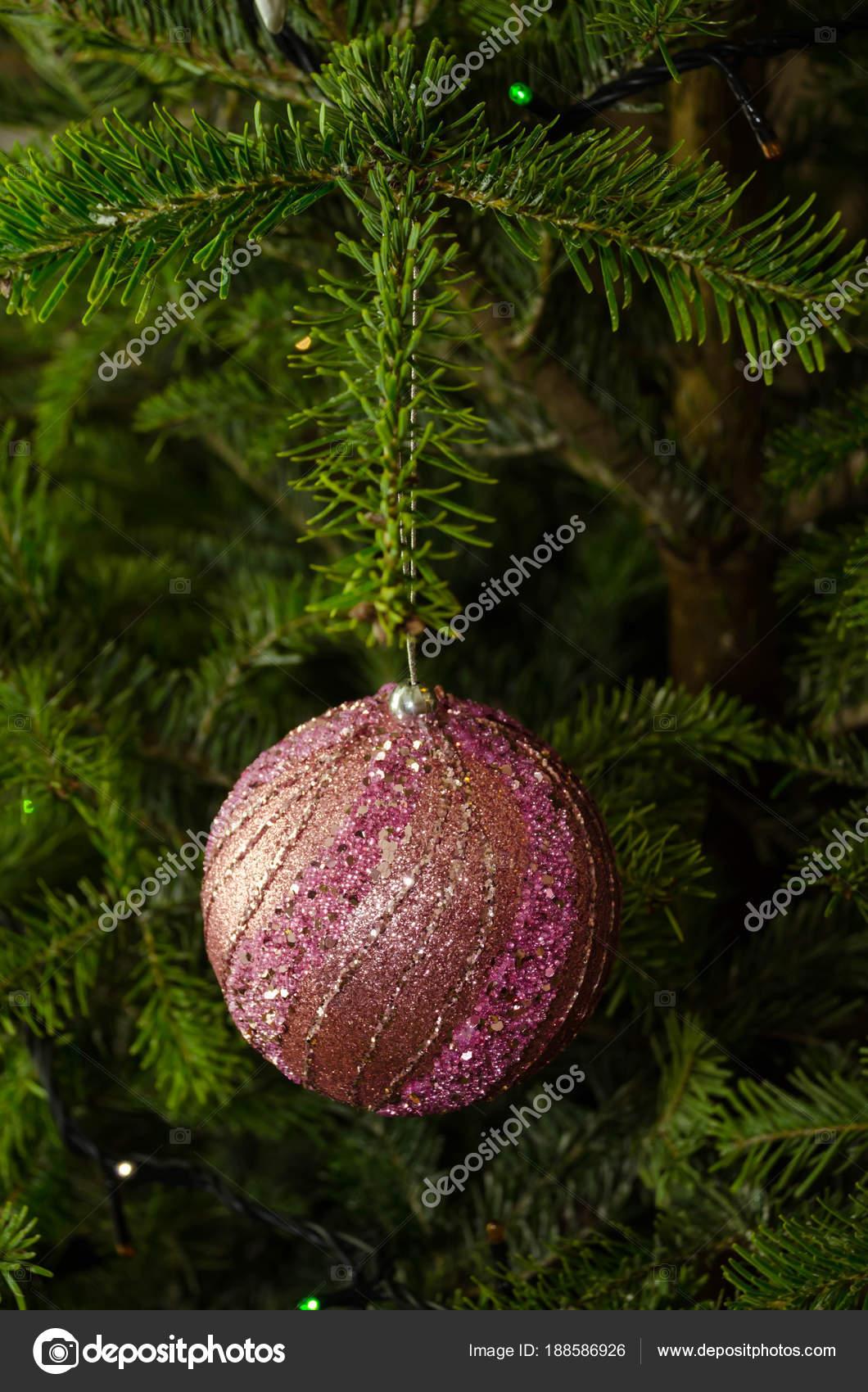 Close up of purple Christmas tree decorations — Stock