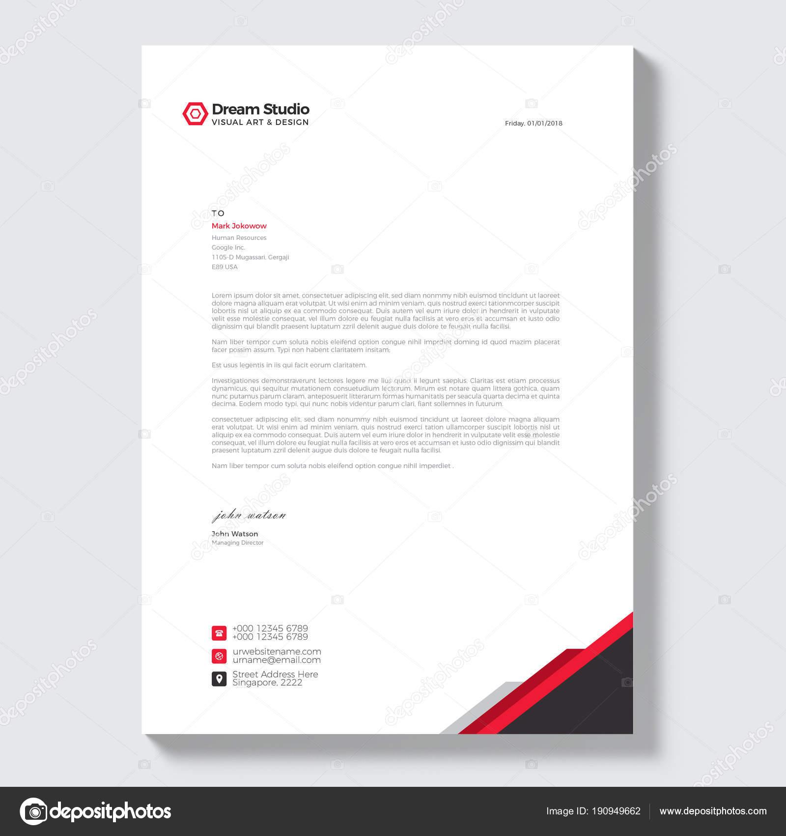 Briefkopf Moderne Vektor Design Vorlage Stockvektor Dreamstudio