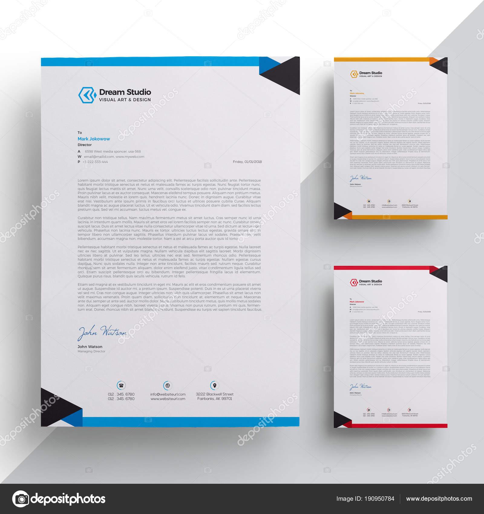 Modern Company Letterhead Template  Stock Vector  DreamstudioEg