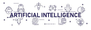 AI Artificial Intelligence infographic banner. neural network diagram, cybernetics, problem solving, Futuristic, Robotics machine and deep learning.