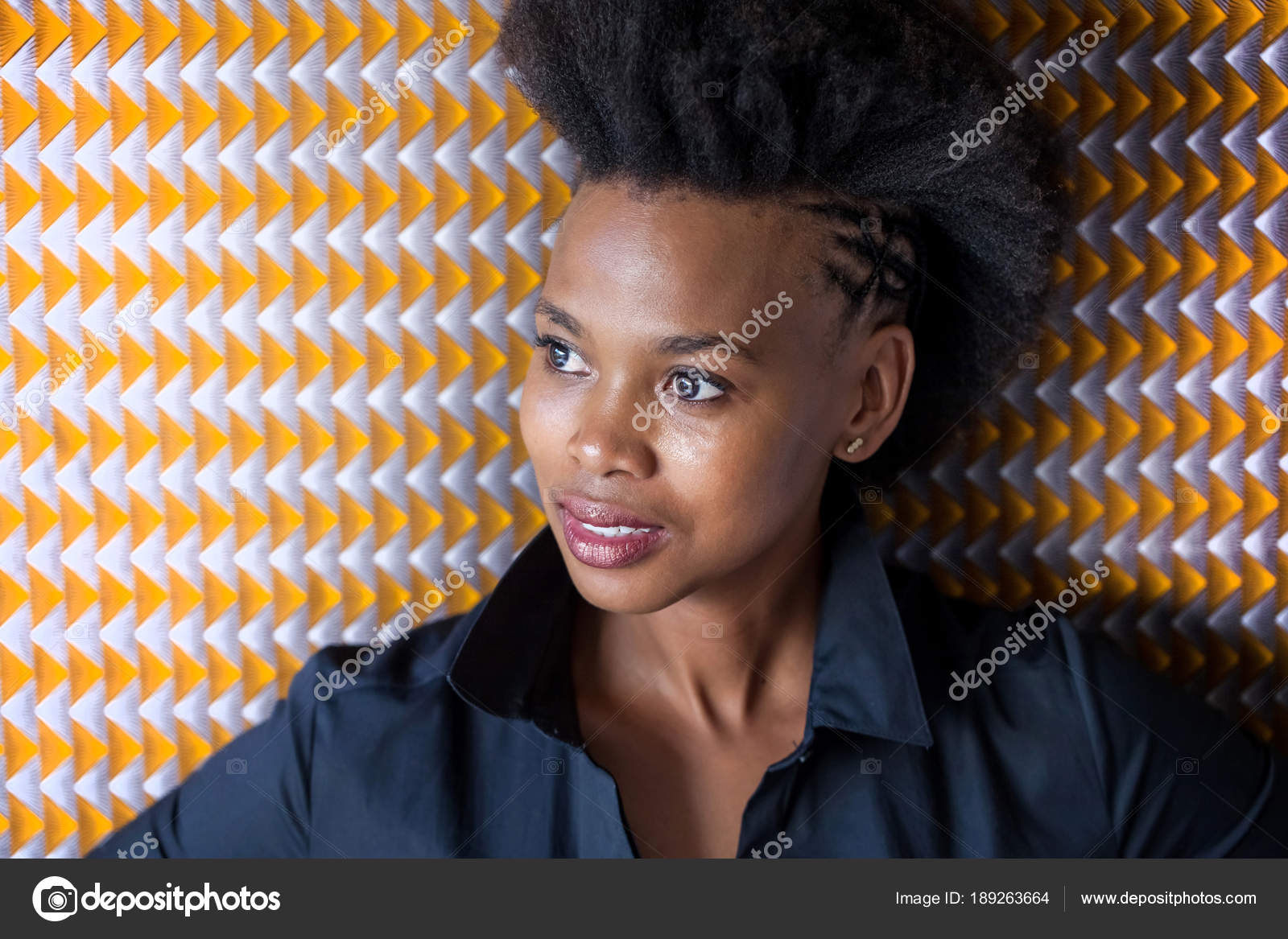 Johannesburg South Africa December 2016 Girl Afro Hairstyle Posing