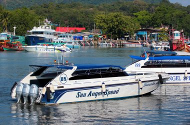 Speedboat in sea marina at Khlong Tha Chin, Phuket, Thailand