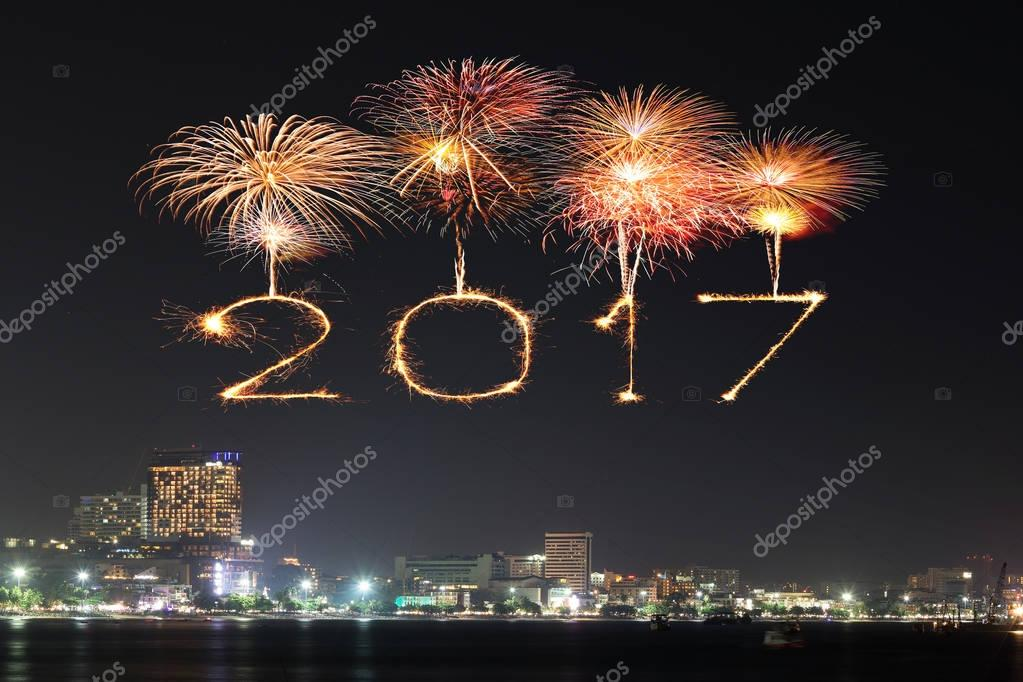 2017 happy new year fireworks celebrating over pattaya beach at night thailand photo by geargodz