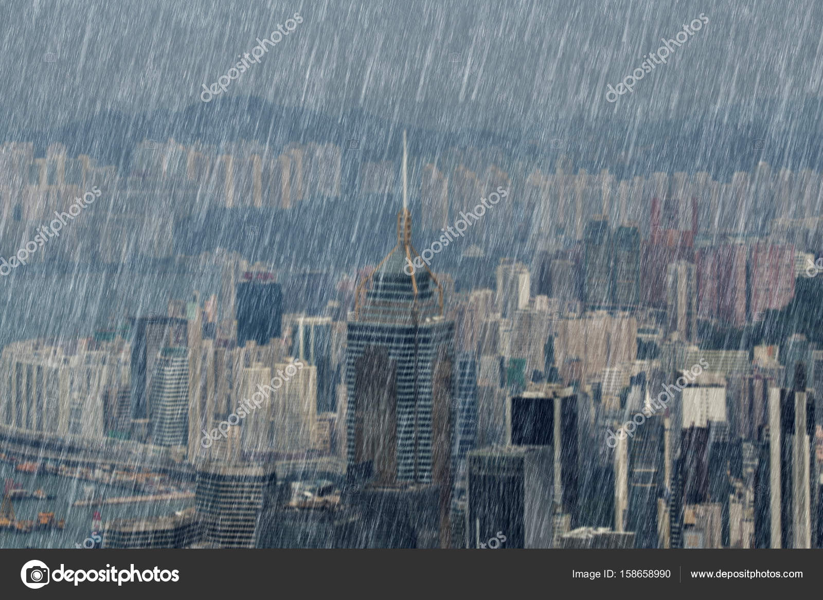 falling rain in hong kong city stock photo geargodz 158658990