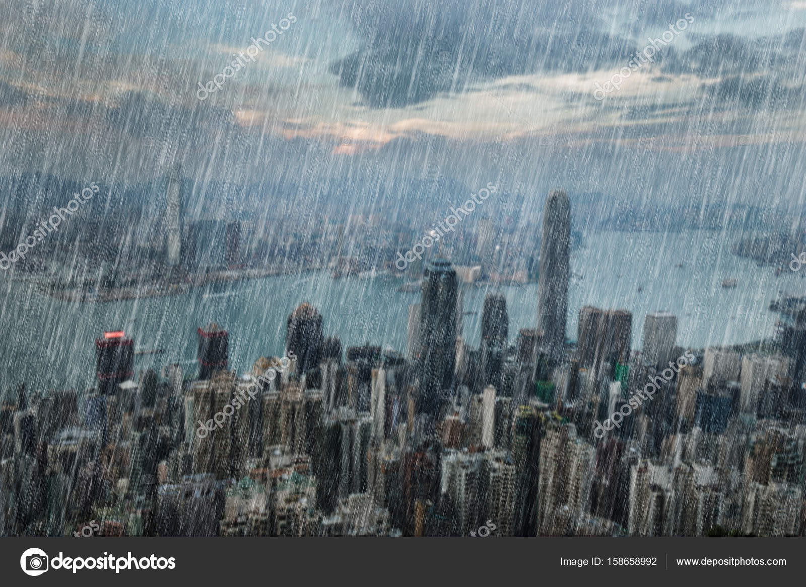 falling rain in hong kong city stock photo geargodz 158658992