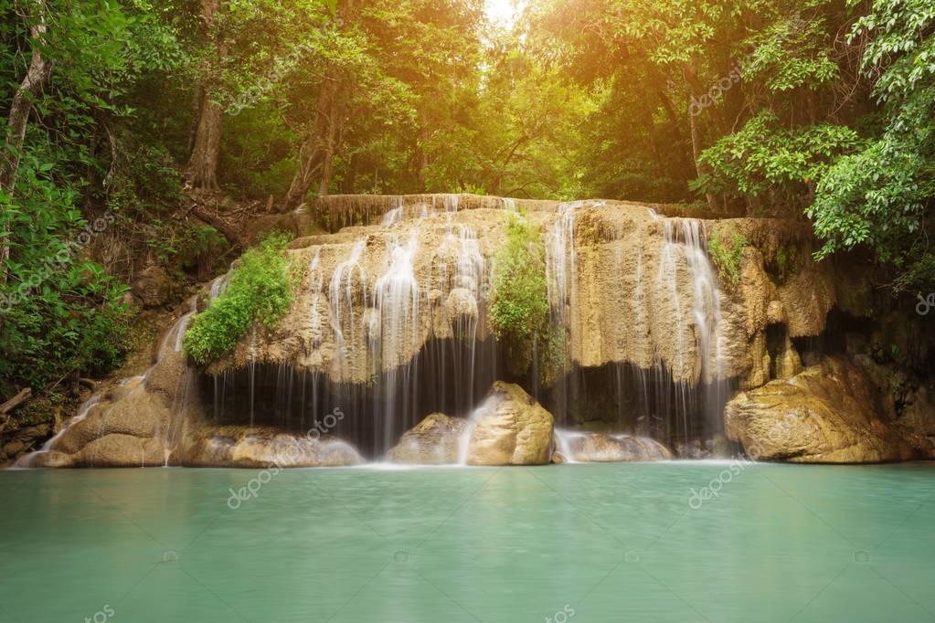 Фотообои Level 2 of Erawan Waterfall in Kanchanaburi, Thailand