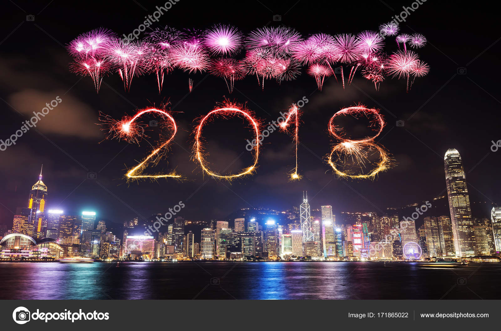 2018 happy new year firework sparkle with hong kong cityscape at night photo by geargodz