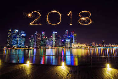 2018 Happy new year firework Sparkle with central business distr