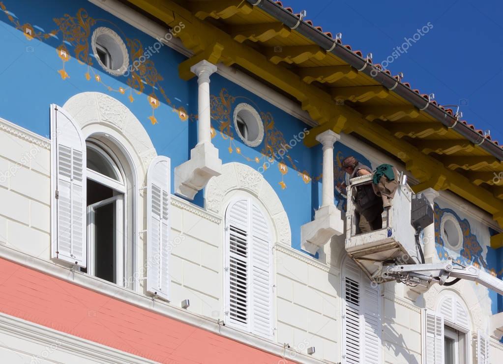 Schilderij van de decoratie van de gevel van een historisch gebouw