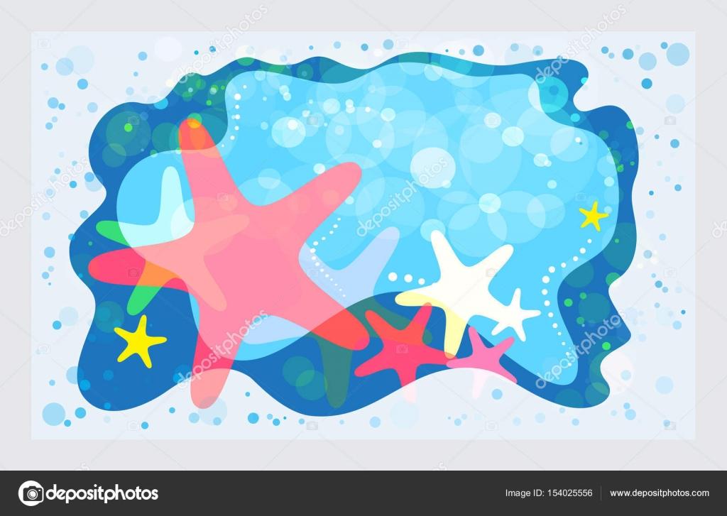 Modello di estate le stelle marine sulla spiaggia u vettoriali