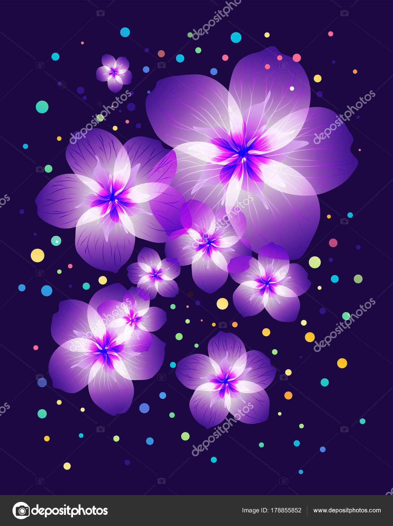 Light Purple Flowers On Dark Purple Background Stock Vector