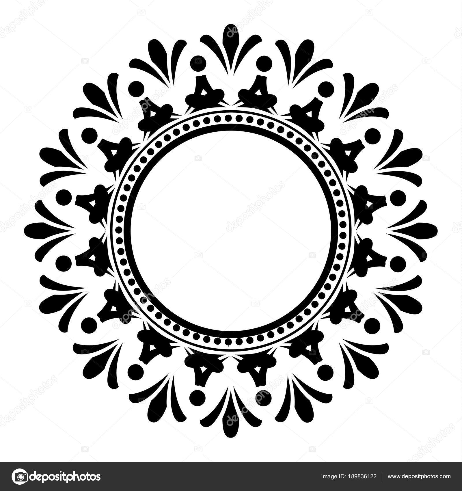 black and white decorative round frame — Stock Vector © flowersmile ...