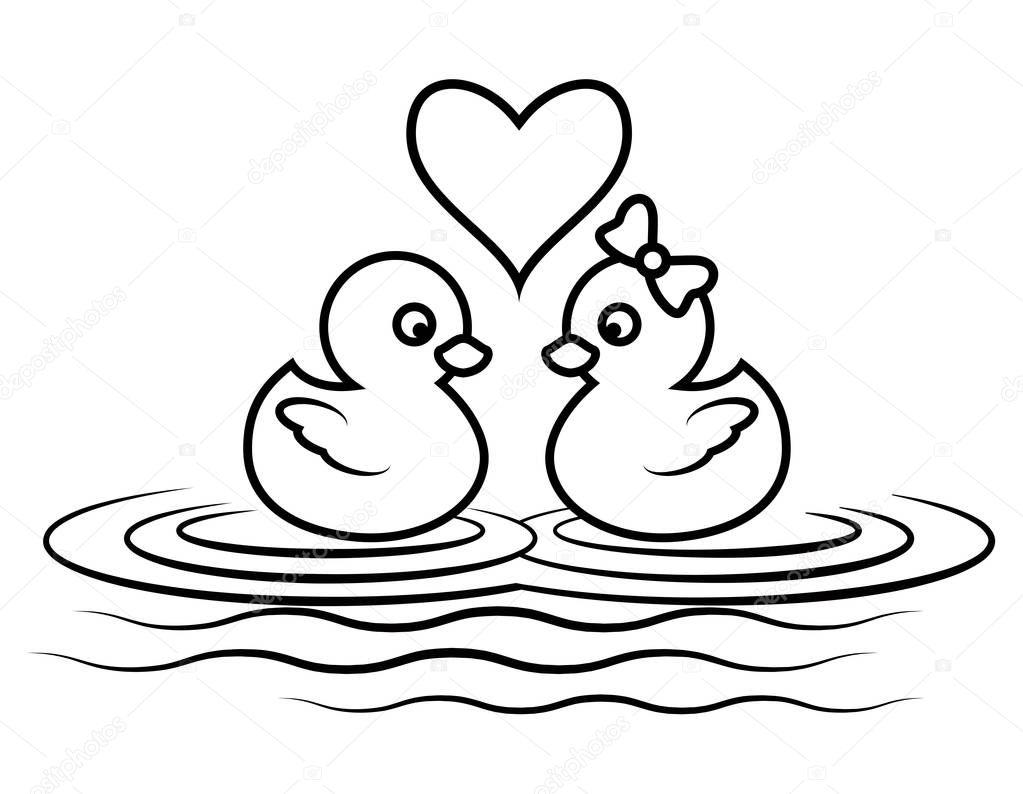 Patos Para Colorear Para Para Con Para Vector Stock Sin: Imágenes: Patos Nadando Para Colorear