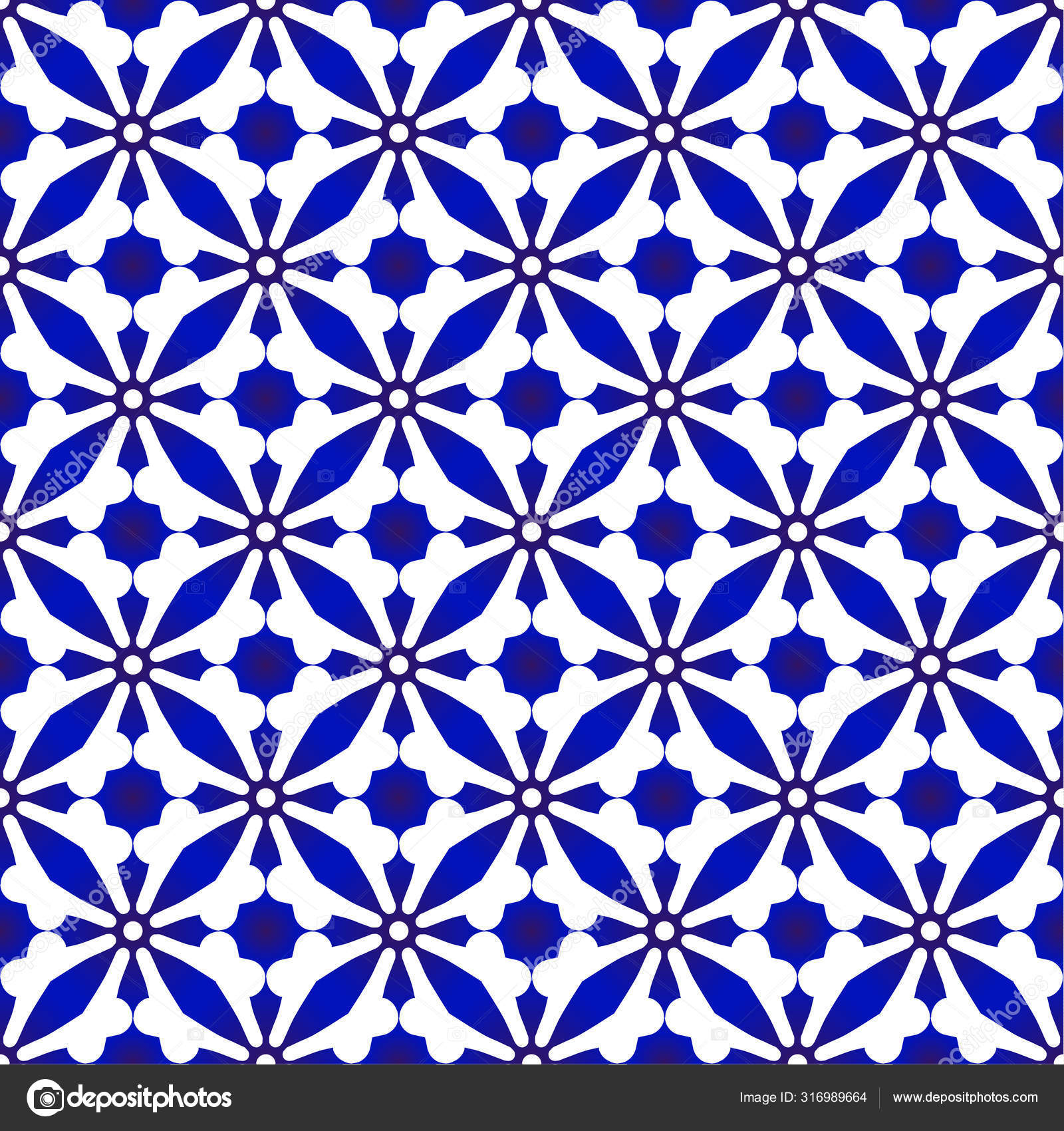 Ceramic Pattern Blue And White Vector Image By C Flowersmile Vector Stock 316989664