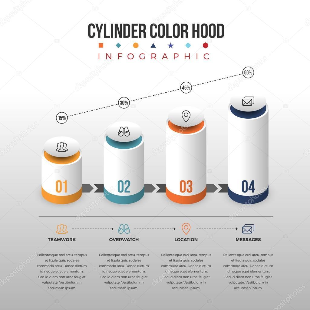 Cilindro Color campana infografía — Vector de stock © herminutomo ...