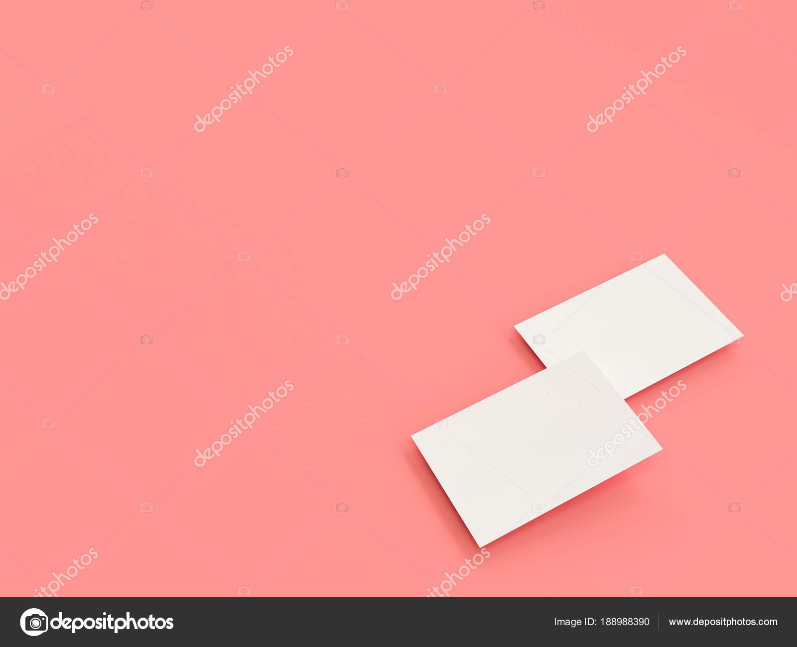 Visitenkarten Mock Up 3d Rendering Rosa Hintergrund