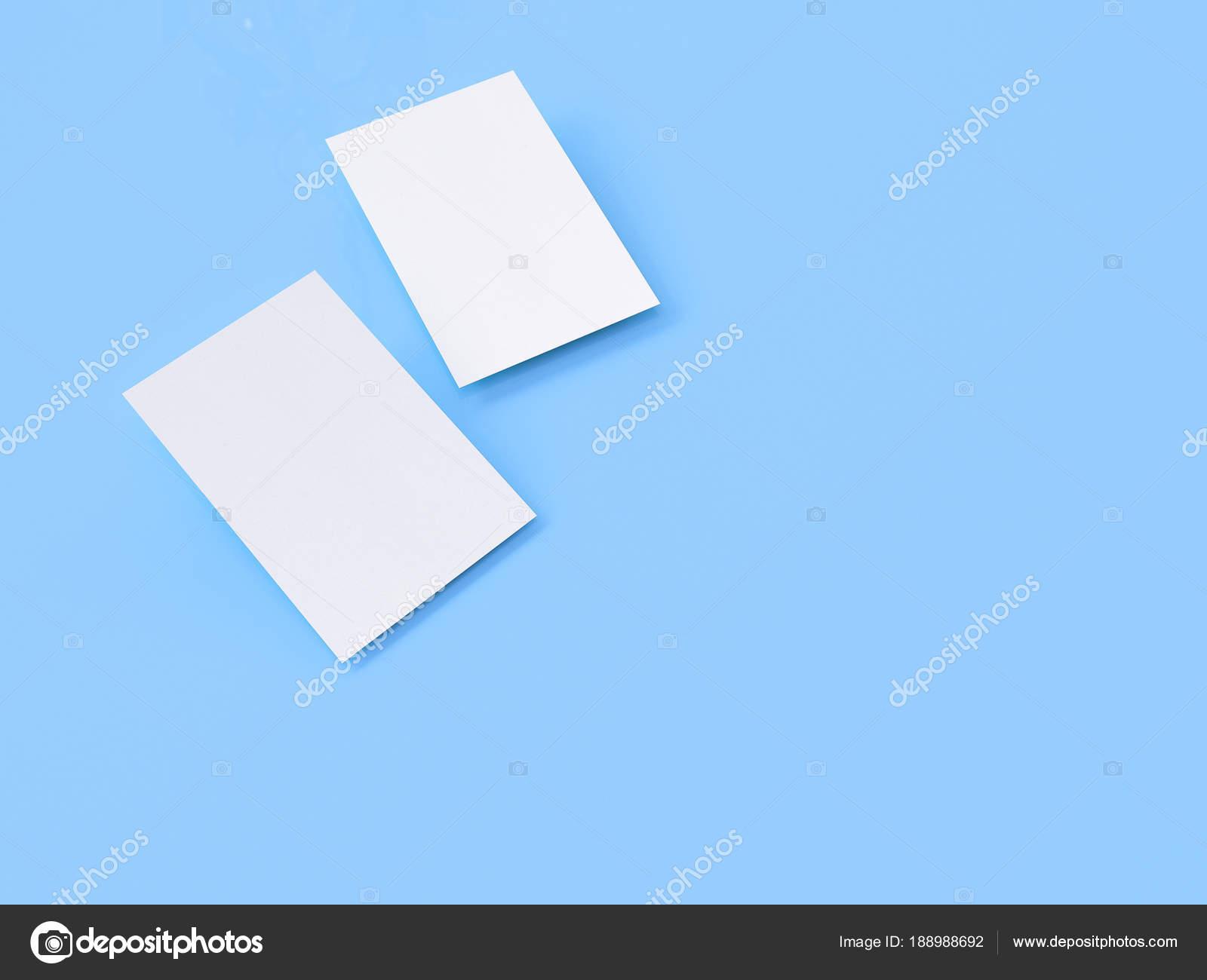 Visitenkarten Mock Up 3d Rendering Blauer Hintergrund