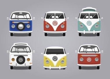 Retro camping van collection design