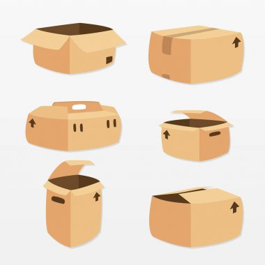 Variety of cardboard box set icon