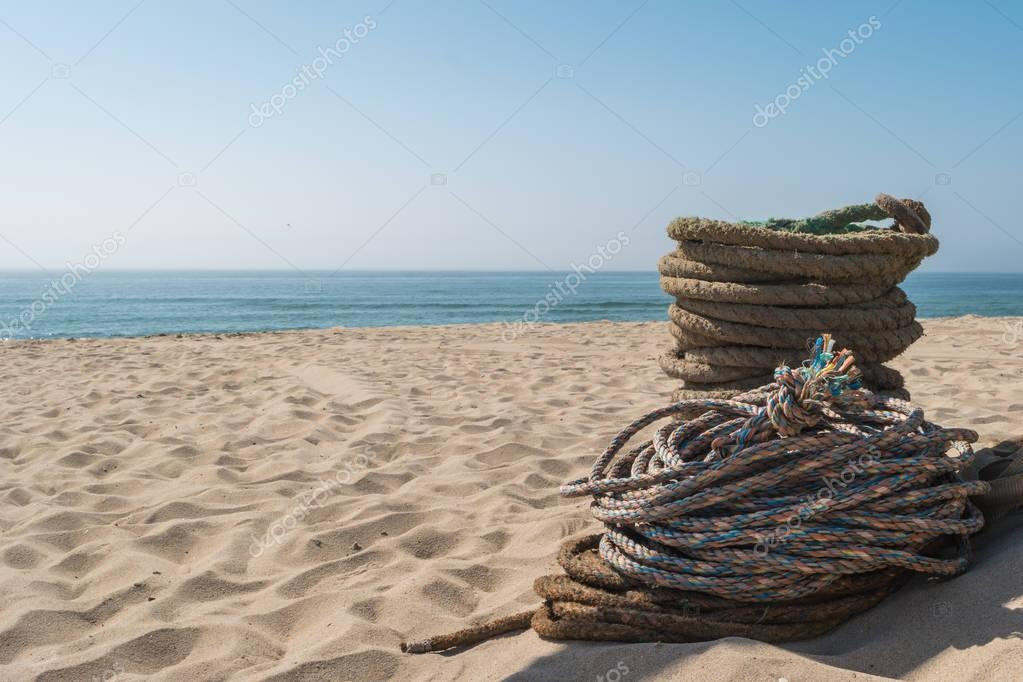Ropes used for artisanal trawling fishing. Ropes for the Arte Xavega fishing technic