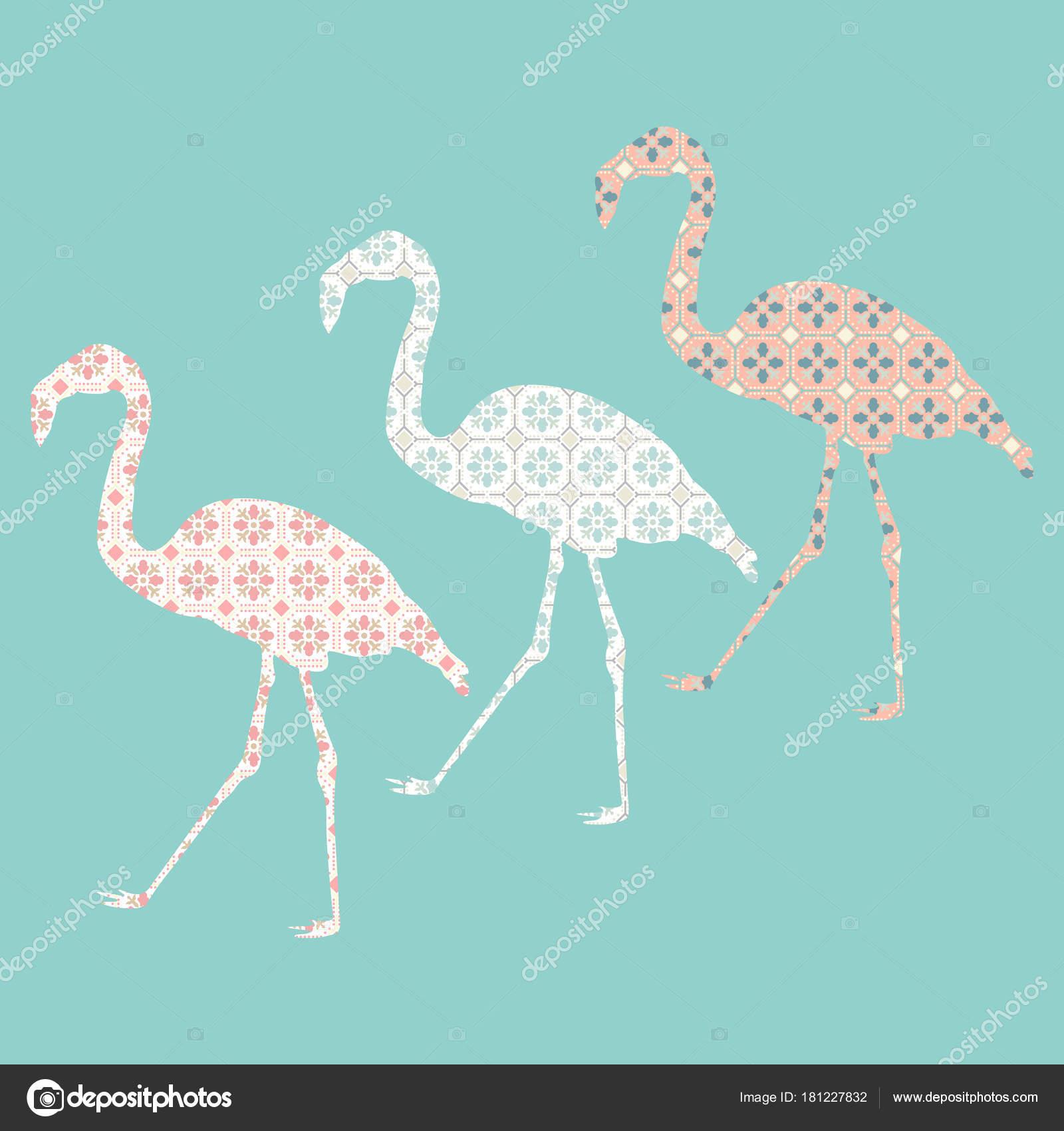 Hand Gezeichnet Flamingo Mit Fliesenmuster Bunte Skizze Stil Vektor ...