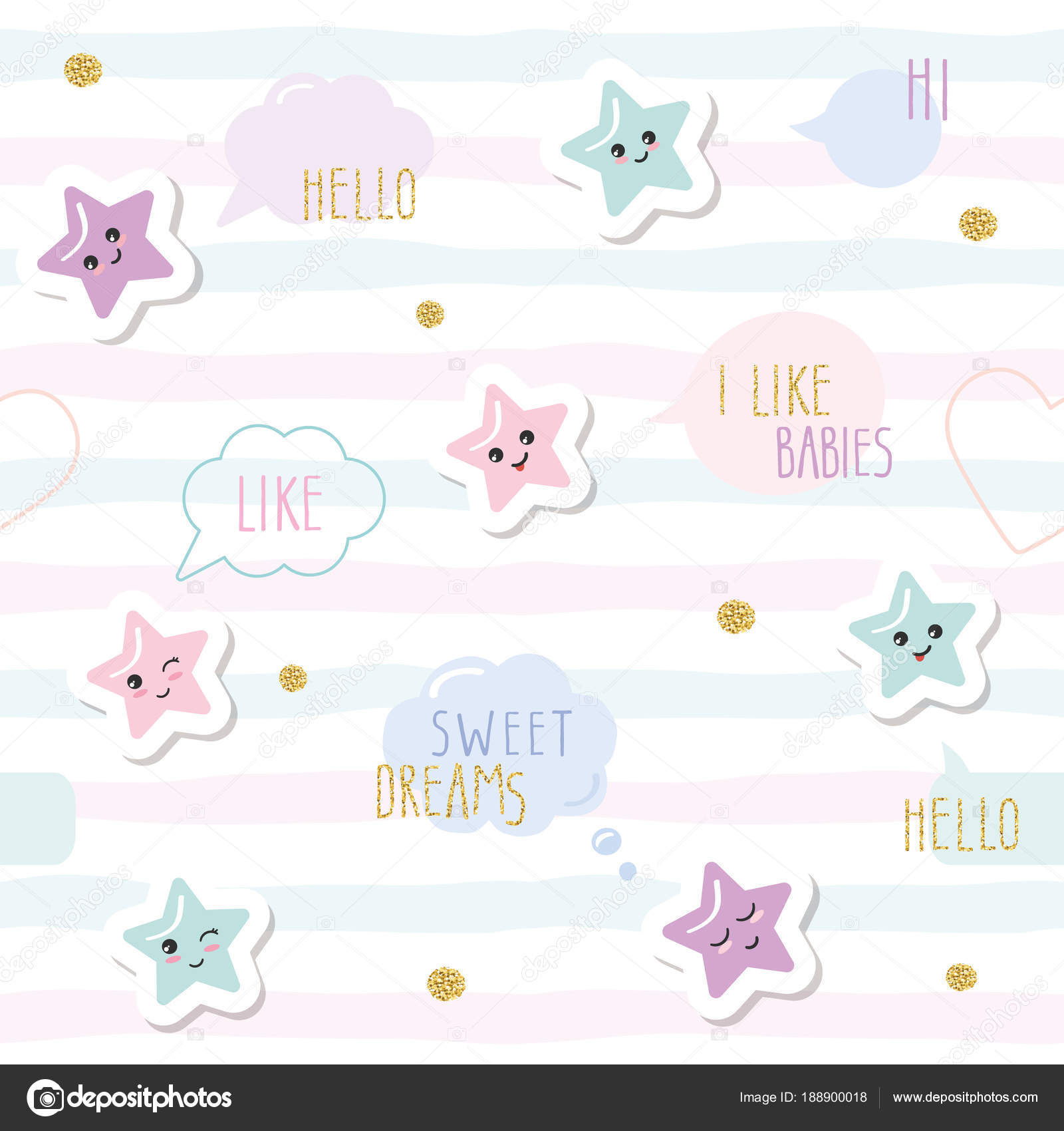 Cute Seamless Pattern Background With Cartoon Kawaii Stars And Speech  Bubbles. For Little Girls Babies Clothes, Pajamas, Baby Shower Design.