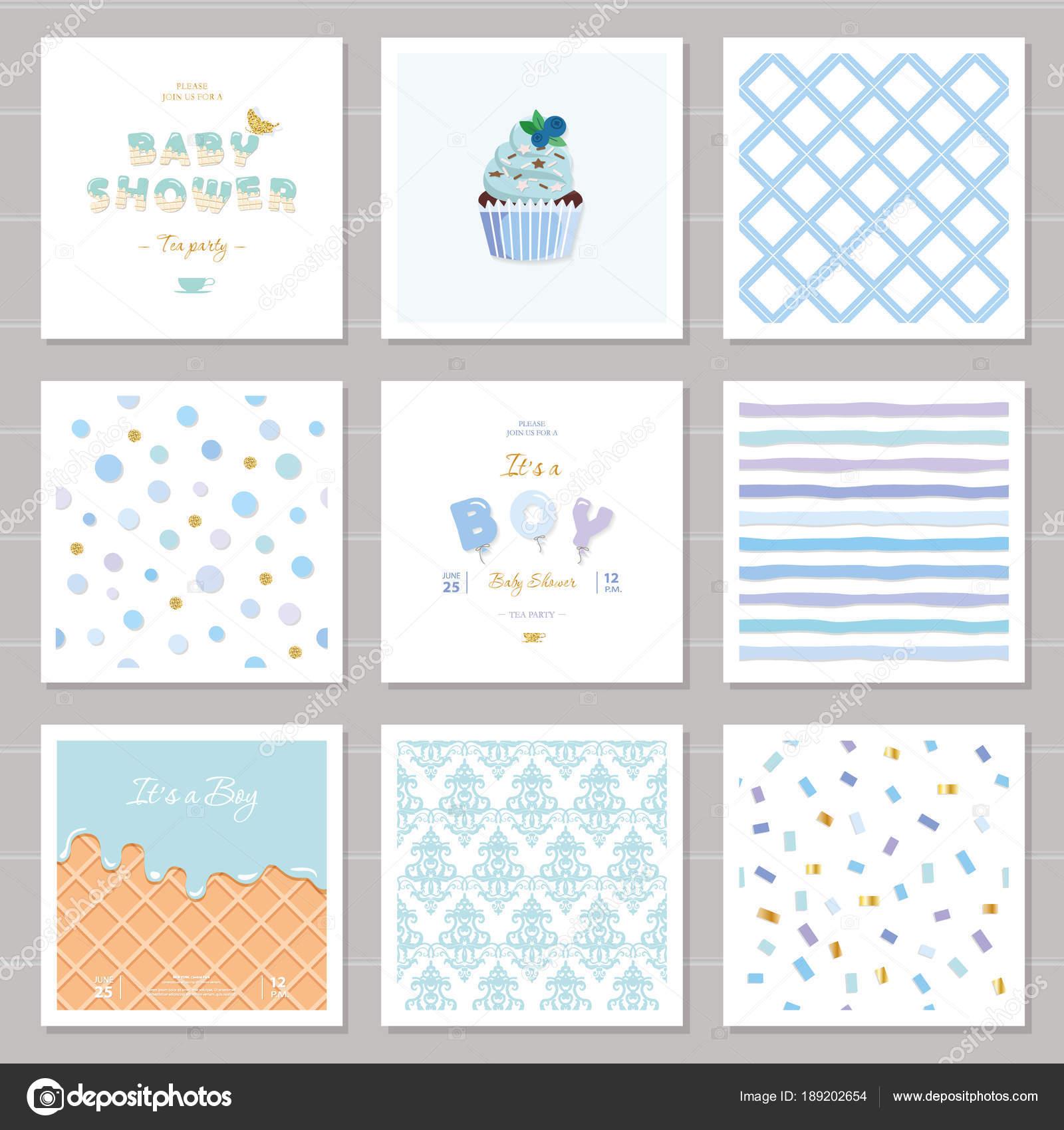 Junge Baby Dusche Vorlagen Musterdesigns set Pastell blau. Auch ...