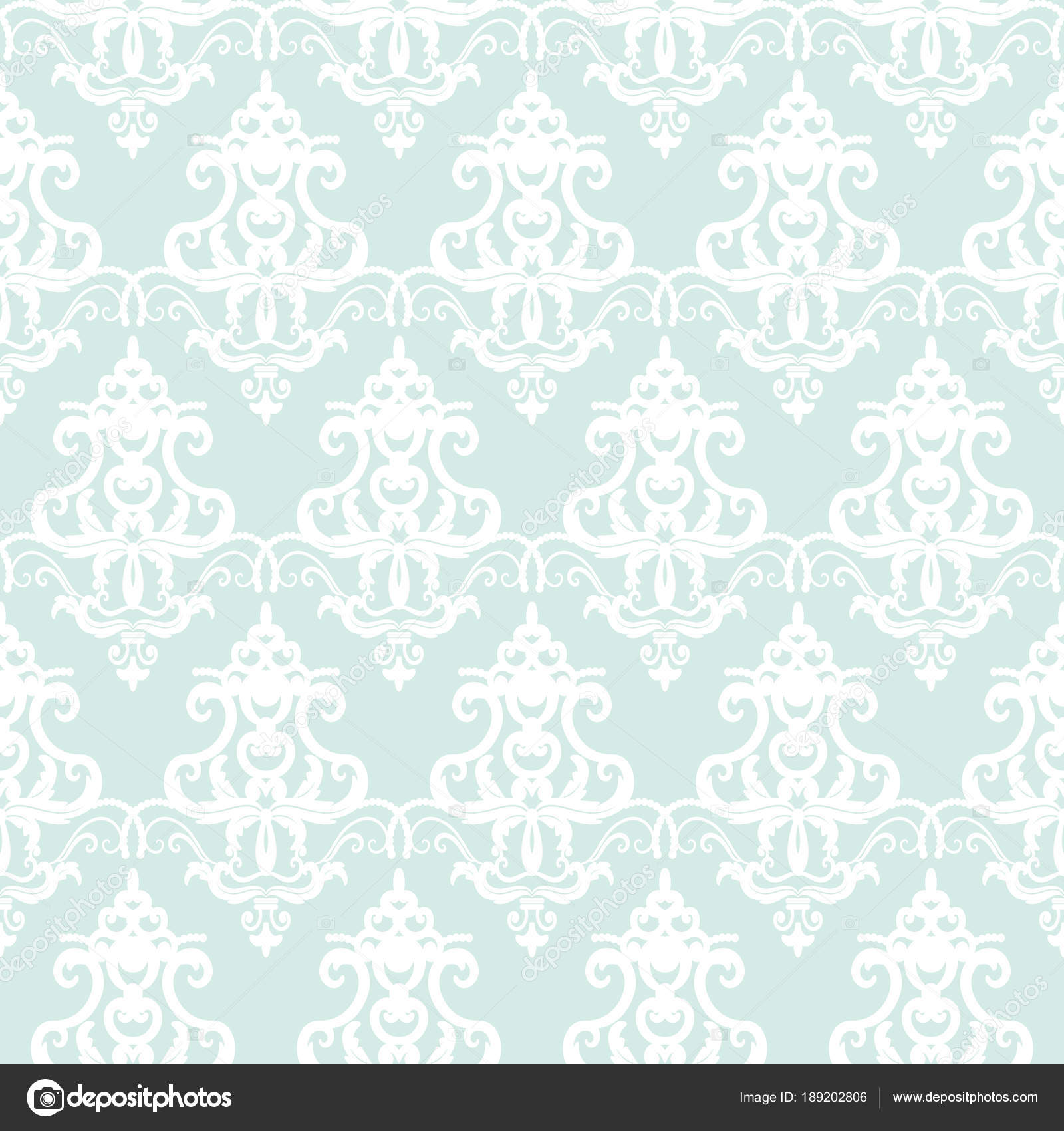 damask seamless pattern background pastel blue and white