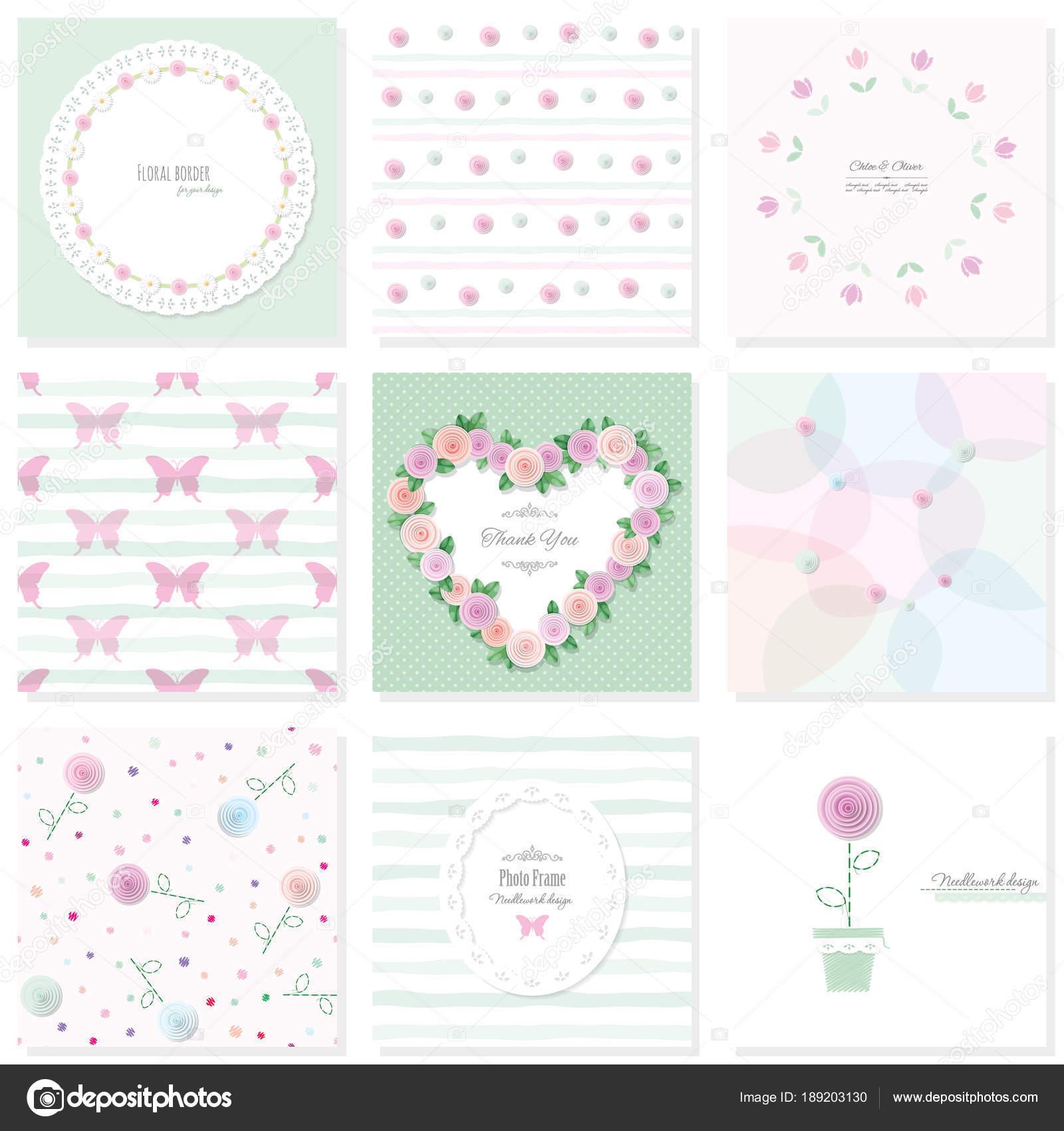 Romantisches Design-Elemente festlegen. Nahtlose Muster, Rahmen ...