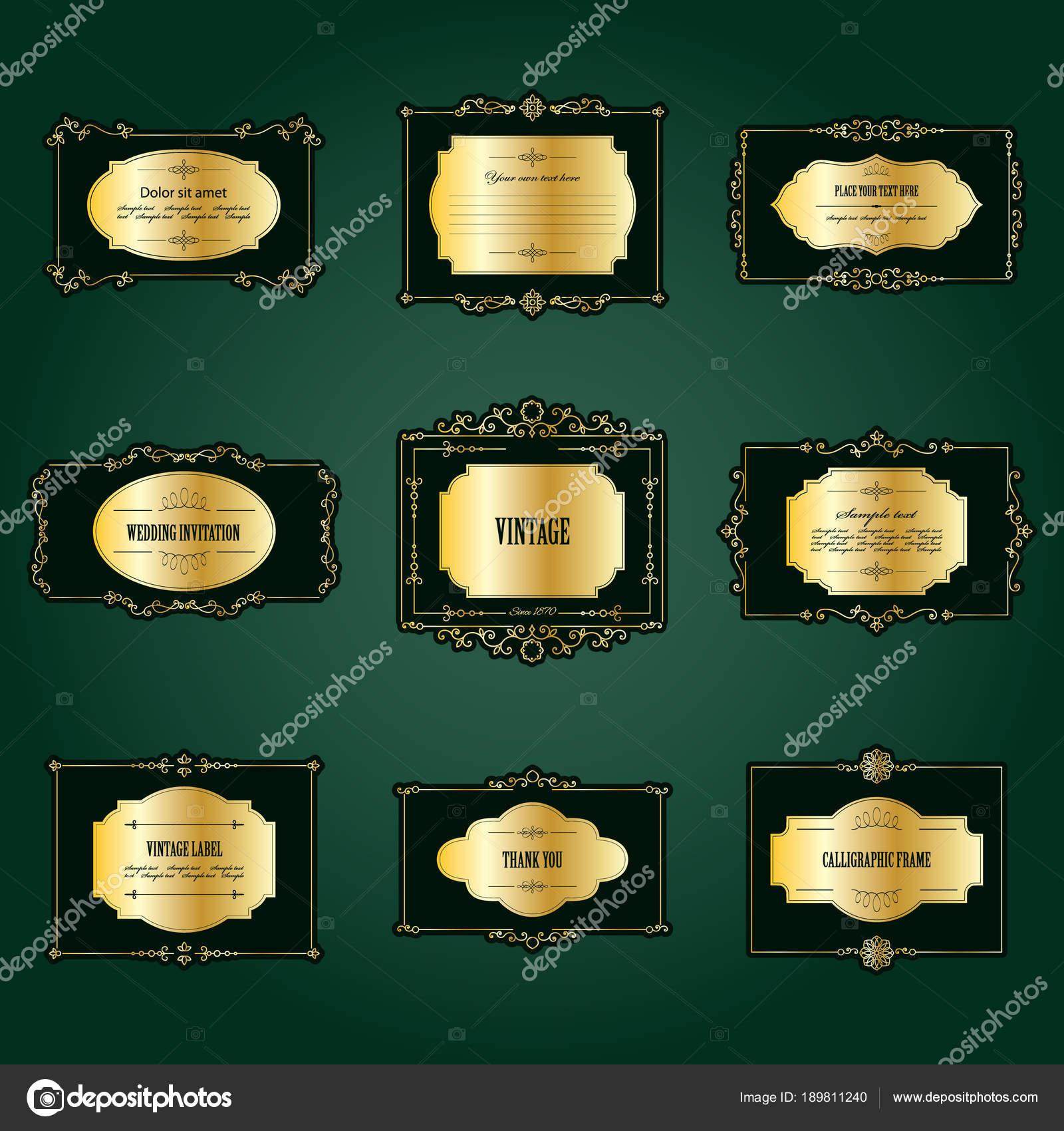 Conjunto de Marcos y etiquetas de lujo oro — Vector de stock ...