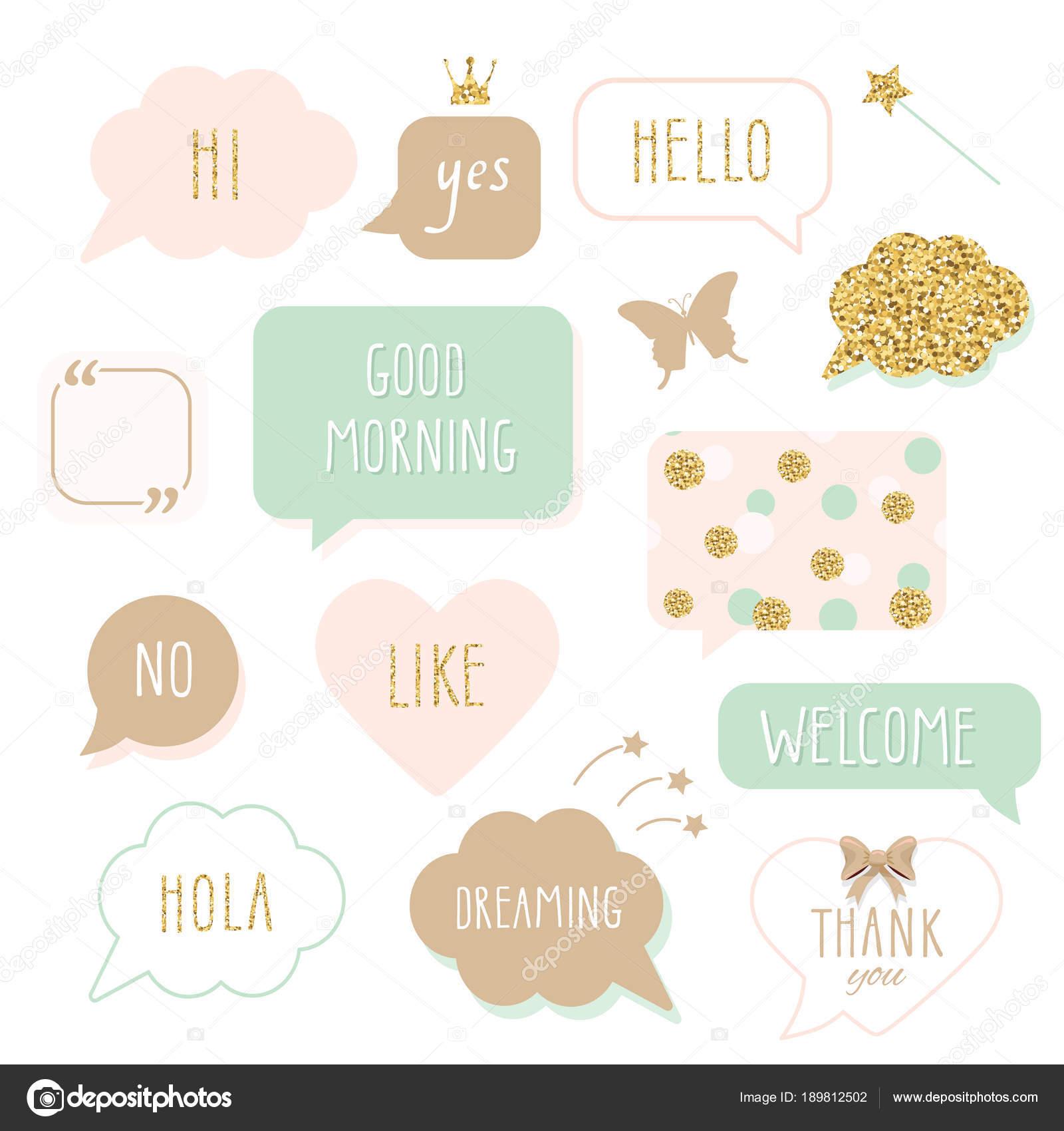 Niedliche Sprechblasen Mit Der Hand Geschriebene Worte