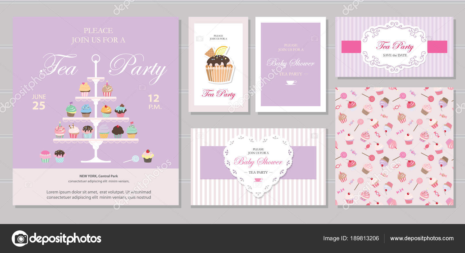 cute templates with cupcakes stand and sweets in pastel colors