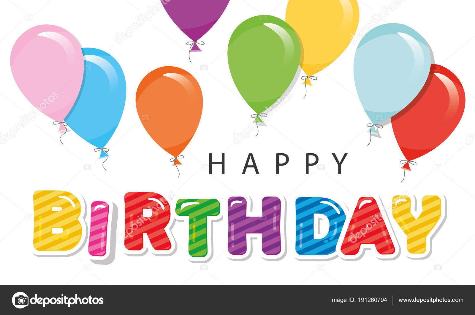 Happy Birthday Greeting Card With Balloons For Posters Banners