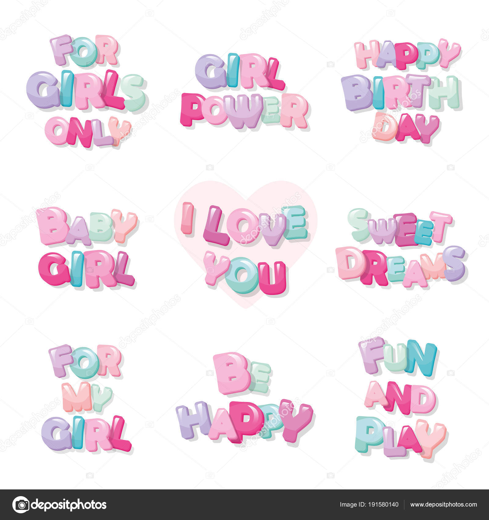 Cute inscription icons for girls. Cartoon glossy letters in pastel ...