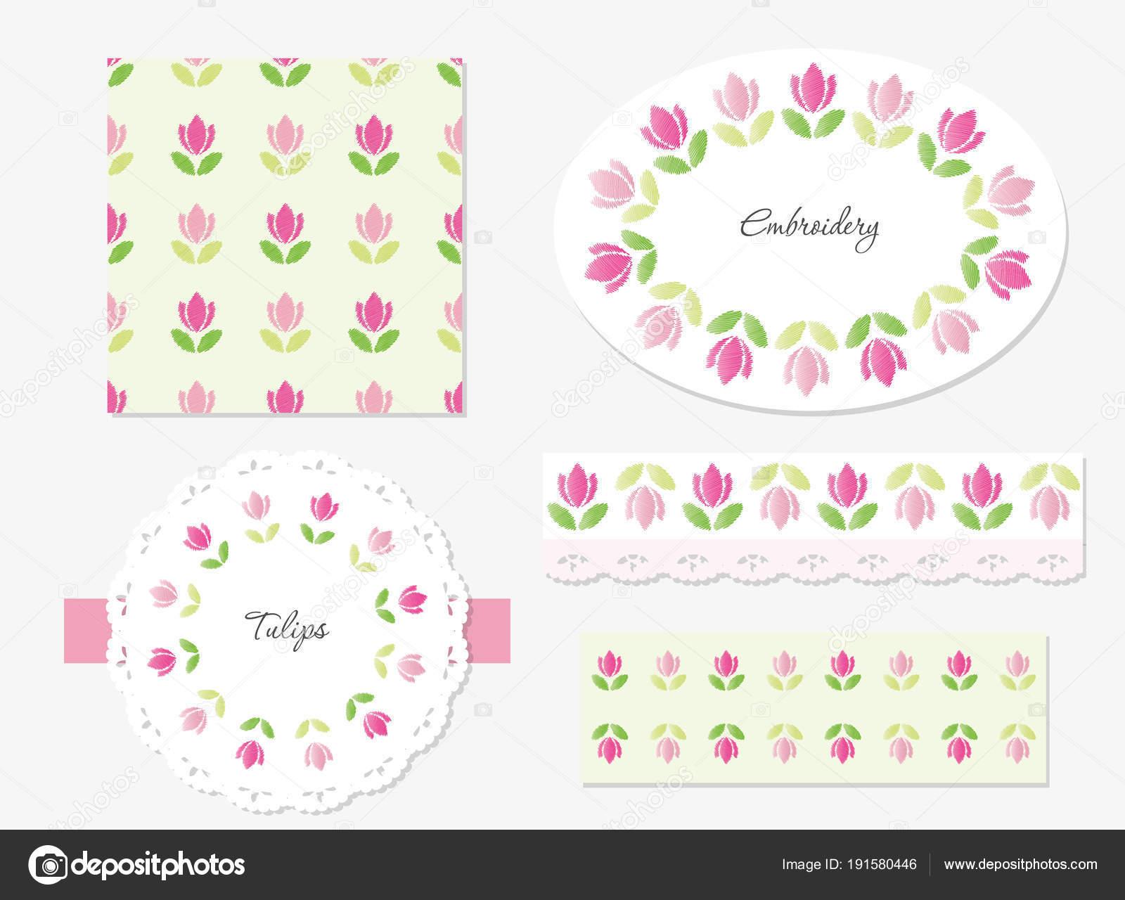 Conjunto de elementos decorativos florales bordado — Archivo ...