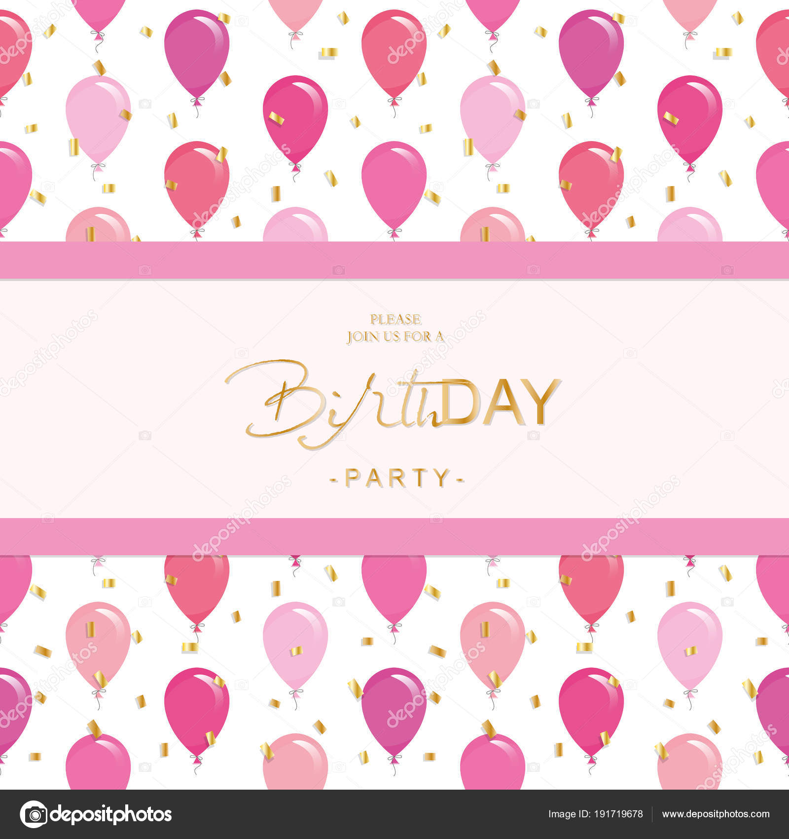 Pink And Gold Birthday Invitation Template Birthday Party
