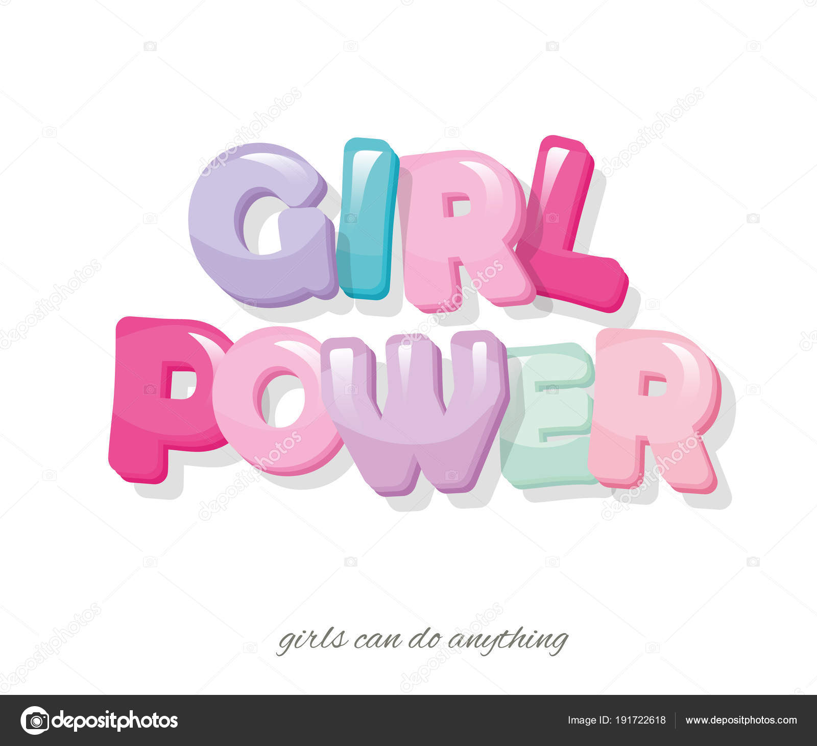 Girl power inscription. Cartoon glossy letters in pastel colors ...