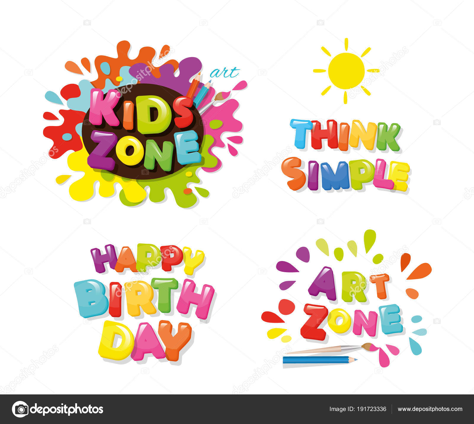 Lindo diseño para niños. Zona de arte, feliz cumpleaños, piensa ...