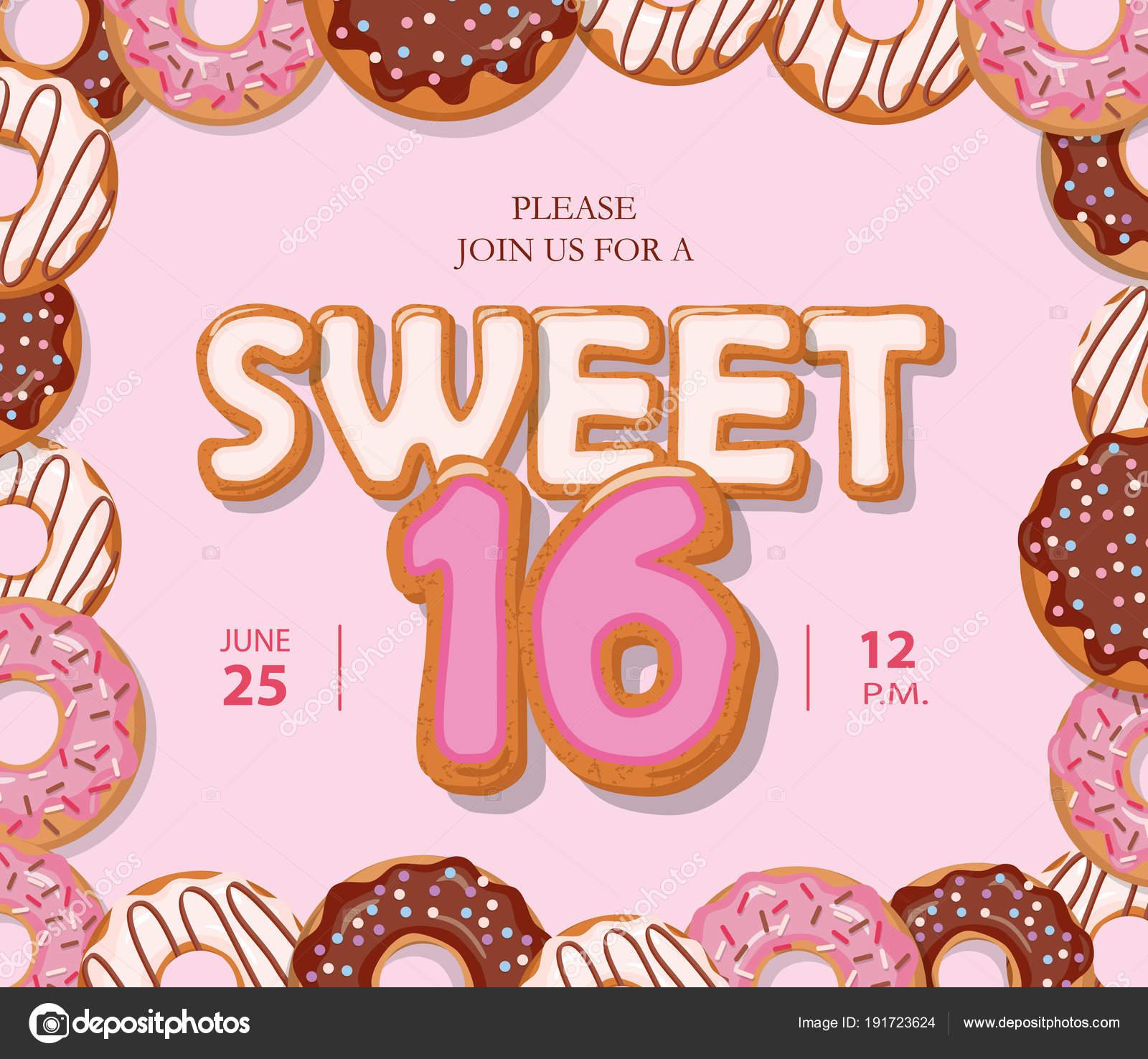 Süß 16 Geburtstagskarte. Niedlichen Cartoon Buchstaben und Donut ...